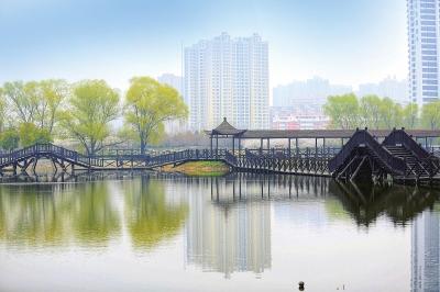 亭台轩榭,小桥栈道等打造出秀美的滨水景观苗阿丽摄